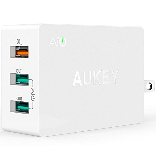 Quick Charge 2.0 AUKEY 3-Port USB Wall Charger with Micro-USB Cable for Galaxy S8/S7/S6/Edge/Plus, Note 4/5, LG G4, Nexus 6, iPhone, iPad & More | Qualcomm Certified