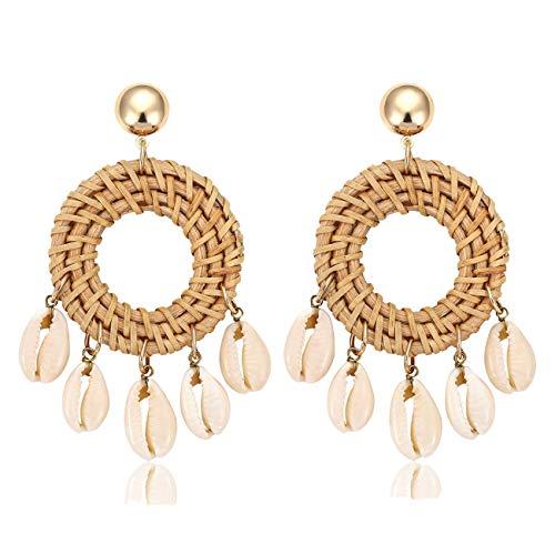 (Boormanie Shell Rattan Earrings for Women Handmade Woven Straw Wicker Bohemian Shell Disc Earring Lightweight Geometric Drop Dangle Earrings)