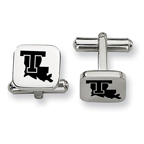 Louisiana Tech Bulldogs Stainless Steel Square Cufflinks