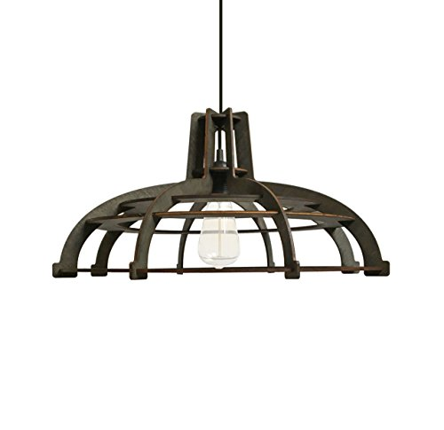 Farmhouse chandelier for kitchen, living room, bedroom - Wood pendant lighting for rustic, modern, contemporary, minimalistic interior styles - Black / dark brown hanging lamp original (House Lighting Provence Chandelier Light)