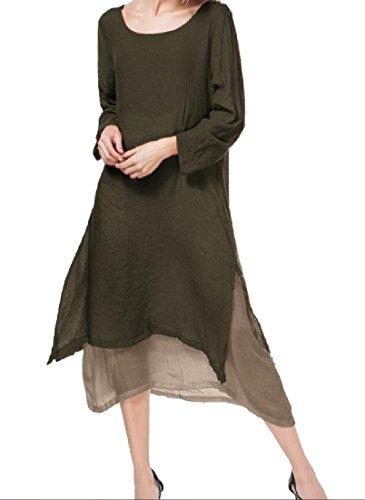 Coolred-femmes, Plus La Taille En Forme De Lin Vintage 2 Joueurs Mi Robe Longueur Café