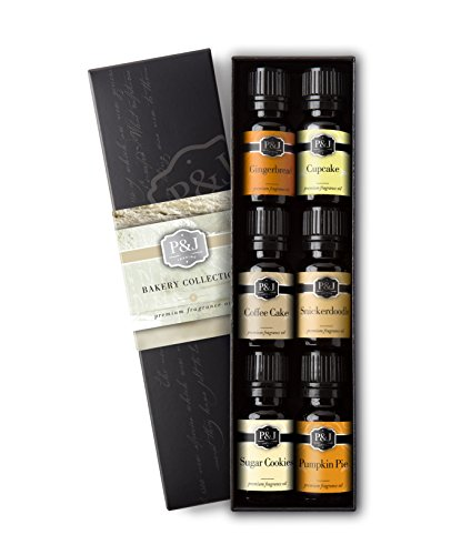 P&J Trading Bakery Set of 6 Premium Grade Fragrance Oils - Pumpkin Pie, Cupcake, Sugar Cookies, Coffee Cake, Snickerdoodle, Gingerbread - 10ml