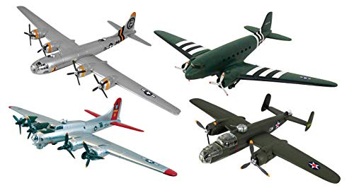 New 1:48 NEW RAY CLASSIC WWII - BOMBERS TRANSPORTER PLANES MODEL KITS ASSORTMENT LOCKHEED Diecast Model By NEW RAY TOYS Set of 4 Planes