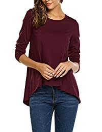 Meaneor Womens Loose Long Sleeve Round Neck Flare Tunic Top Blouse