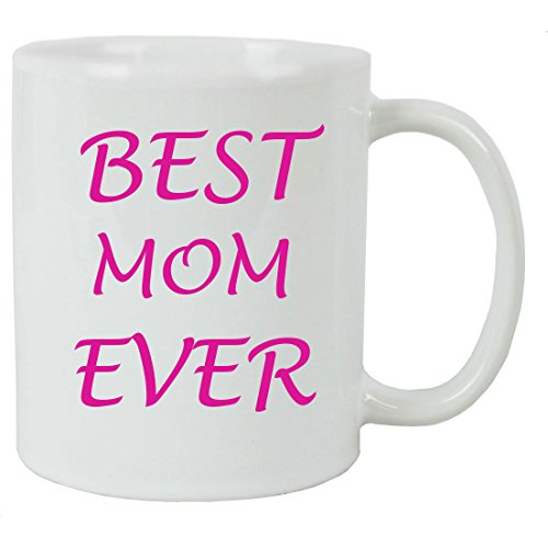 For the Best Mom Ever 11 oz White Ceramic Coffee Mug with FREE White Gift Box for Holiday Gift or Present!