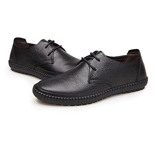 Ruanyi Hommes Mocassins Chaussures, Lace Up Plat Semelle Souple Classique Toe Round Véritable Cuir de Vache Supérieur Mocassin pour Hommes Noir