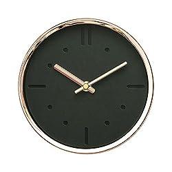 Modern Design Scandinavian 6 Silent Non-Ticking Sweep Movement Desktop Clock, Table Clock, Wall Clock with Rose Gold Frame (Black on Black)