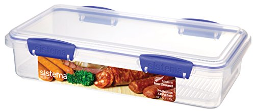 Sistema KLIP IT Utility Collection Deli Storer Plus Food Storage Container, 59.0 oz./1.7 L, Clear/Blue