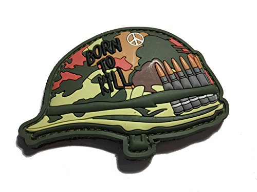 The Tactical Born to Kill Full Metal Jacket Helmet PVC/Rubber 3x2 Morale Patch (hook/loop back)