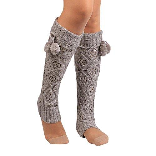 Socks Women, Liraly Winter Warm Knitted Socks Leg Warmers Boot Crochet Long (Gray) from Liraly
