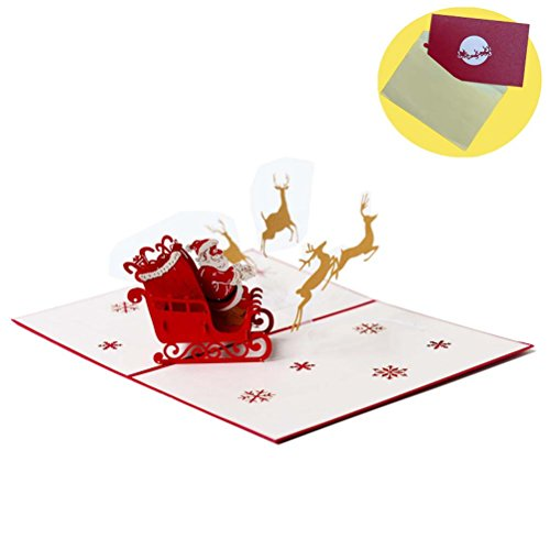 Christmas Cards,Merry Christmas Gift Card, Liangery 3D Xmas Tree Greeting Card with Card Holder Envelope (Xmas Card Holder)