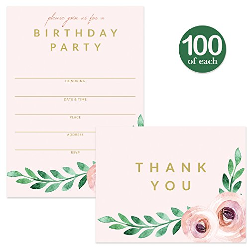 Birthday Party Invitations ( 100 ) & Matched Thank You Notes ( 100 ) Set with Envelopes, Great for Large Celebration Female Girl Young Woman Birthday Fill-in Invites & Blank Thank You Cards Best Value by Digibuddha