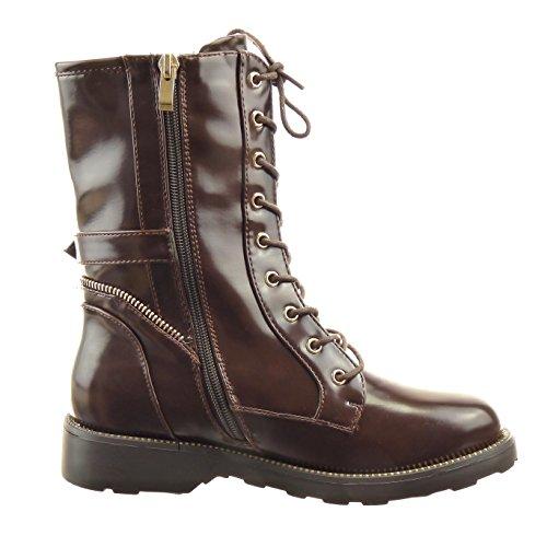Sopily - Zapatillas de Moda Botines botas militares altas Media pierna mujer cremallera Hebilla dorado Talón Tacón ancho 3 CM - Marrón