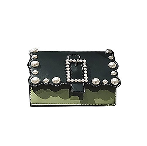 Green Bag Blocking Color Shoulder Pearl Women's PU Style Cross Body Purse QZUnique nfZS1qw
