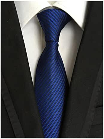 MENDENG Classic Striped Solid Deep Blue Jaquard Woven Silk Men's Ties Neckties