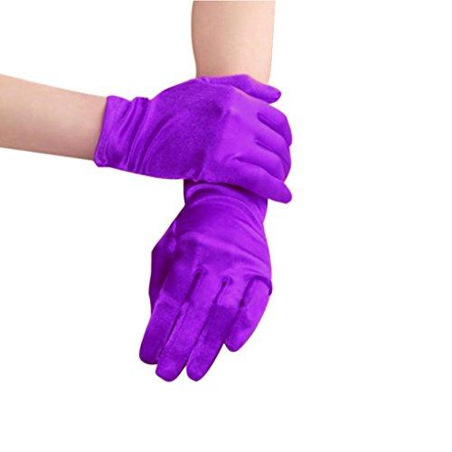 Bridal Waiters Magicians Perform Etiquette Elastic Wrist Short Satin Gloves (Satin Silk Gloves)