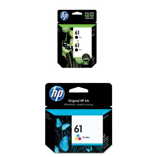 HP 61 Black Original Ink Cartridges, 2 pack (CZ073FN) and HP 61 Tri-color Original Ink Cartridge (CH562WN) Bundle