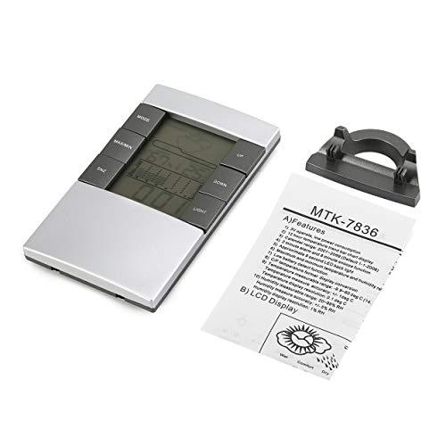 Medidor digital portátil de temperatura y humedad Reloj de estación meteorológica LCD Termómetro exterior Higrómetro