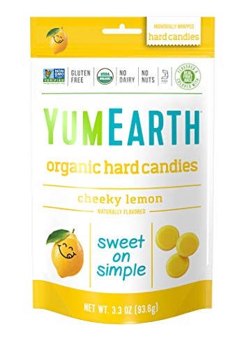 Yum Earth - Organic Candy Drops Gluten Free Cheeky Lemon Flavor - 3.3 oz. (93.5g).Pack of 2