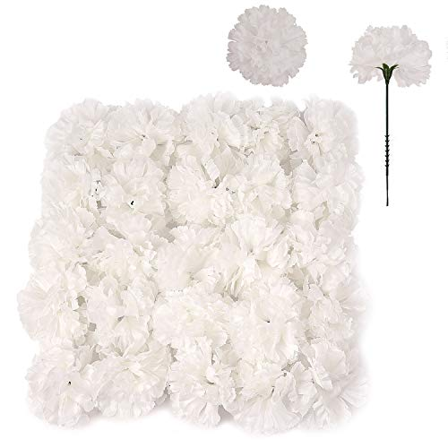 100 White Silk Carnation Picks, Artificial Flower Heads for Weddings, Decorations, DIY Decor, Bulk Carnations, 3.5…
