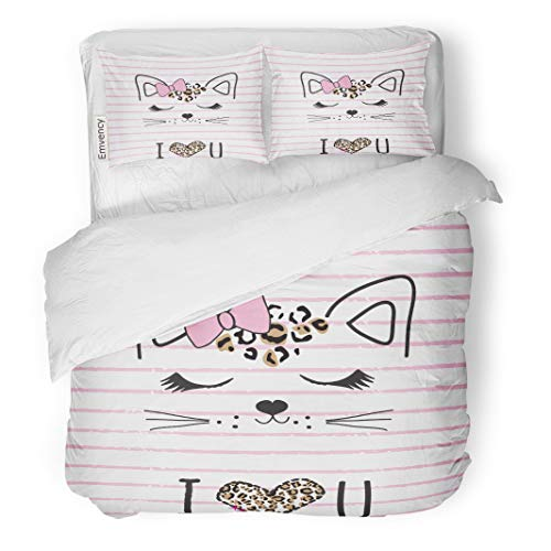 Semtomn Decor Duvet Cover Set King Size Pattern Cute Cat Face on Striped Adorable Animal Baby 3 Piece Brushed Microfiber Fabric Print Bedding Set -