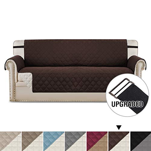 "Reversible Sofa Covers Sofa Slipcover Couch Cover, Couch Covers for 3 Cushion Couch, 2"" Elastic Straps Couch Cover, Sofa Covers for Living Room, Couch Covers for Dogs (Sofa - Brown/Beige)"