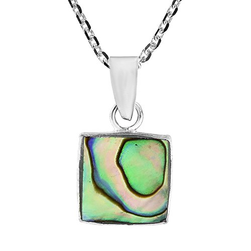 AeraVida Nice & Simple Square Abalone Shell .925 Sterling Silver Pendant Necklace