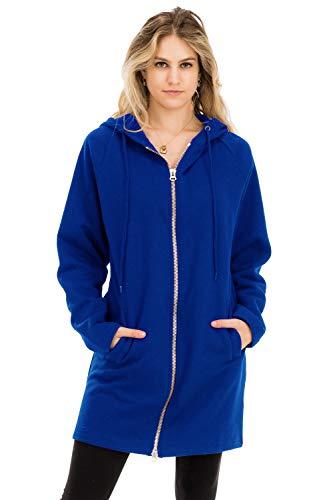 Jacket Casual Metal - Casual Two Way Metal Zippers Hoodie Sweat Jacket Denim Blue 3X