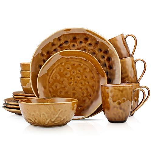 Stone Lain Porcelain Dinnerware Set, Service For 4, Brown