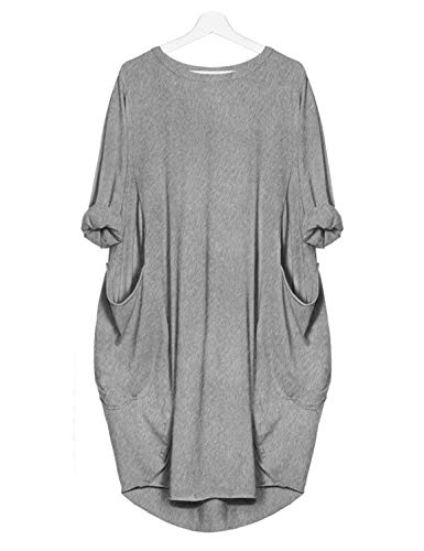 Sweetnight Womens Long Sleeve Casual Loose Pocket T Shirt Dress Oversize Tunic Dress Midi Dresses Tops Plus Size by Sweetnight