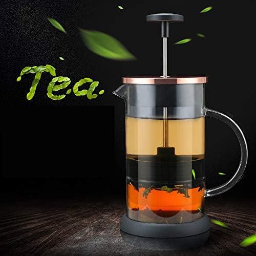 フレンチプレス1000mlコーヒープレス 家庭用コーヒー & ティーメーカー 大容量カフェプレス 8杯 金