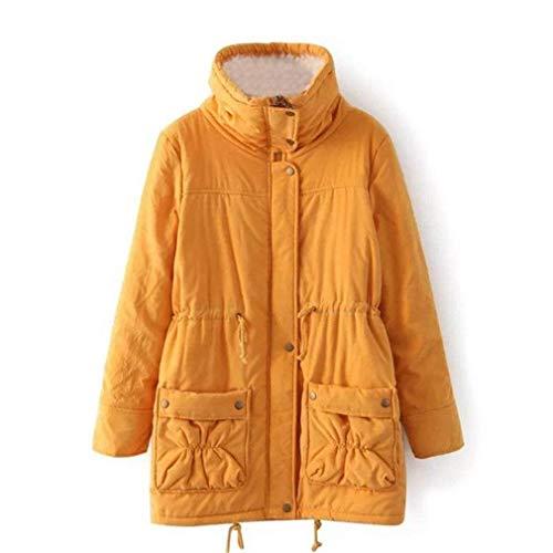Addensare Sciolto Moda Cappotti Collo Gelb Casuale Classiche Di Prodotto Outerwear Giacca Manica Lunga Eleganti Calda Plus Invernali Coreana Donne Giaccone Donna qfw60