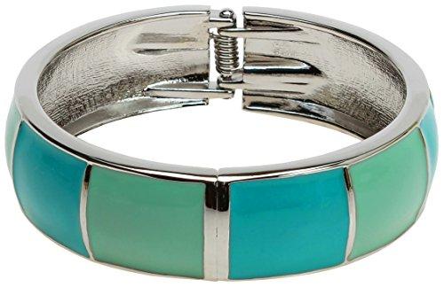 Lova Jewelry Bright Steel Blue Turquoise Aqua Mint Silver Tone Hinge Metal Bangle Bracelet