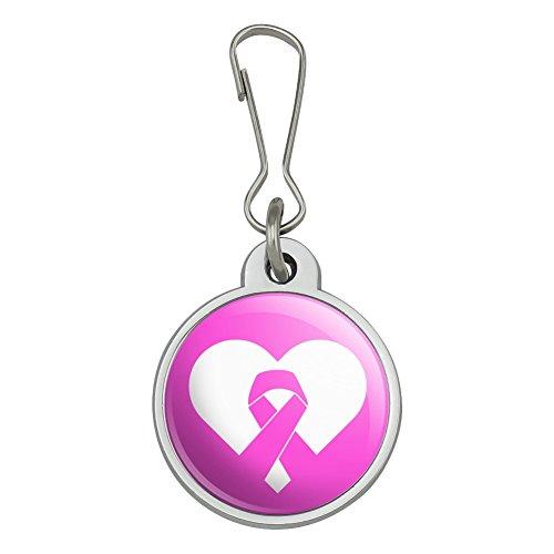 Breast Cancer Awareness Pink Ribbon in Heart Jacket Handbag Purse Luggage Backpack Zipper Pull Charm ()
