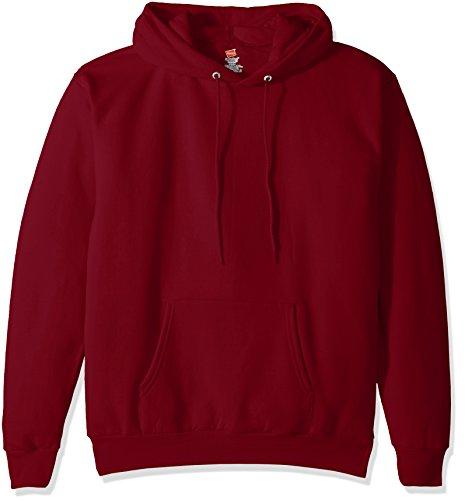 Hanes Men's Pullover EcoSmart Fleece Hooded Sweatshirt, Cardinal, - Mens Sweatshirt Fleece Hooded