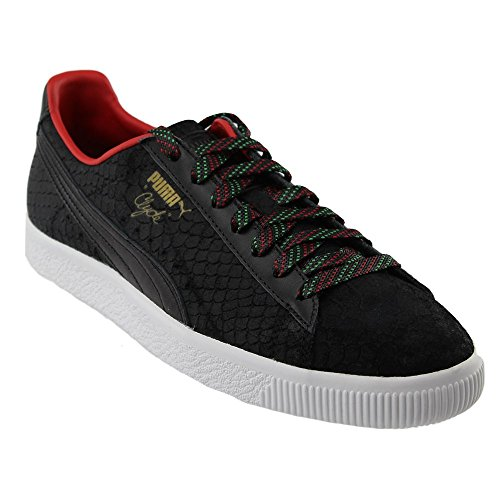 Puma Clyde Gcc Mens Red Leather Lace Up Sneakers Shoes Black DAansr68r5