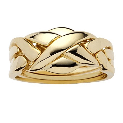 Palm Beach Jewelry 14k Yellow Gold-Plated Braided Puzzle Ring Size 9 ()