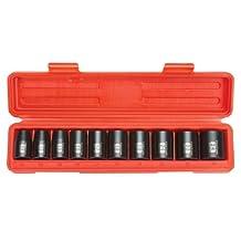TEKTON 4815 1/2-Inch Drive Shallow Impact Socket Set, Metric, Cr-V, 6-Point, 11 mm - 24 mm, 10-Sockets