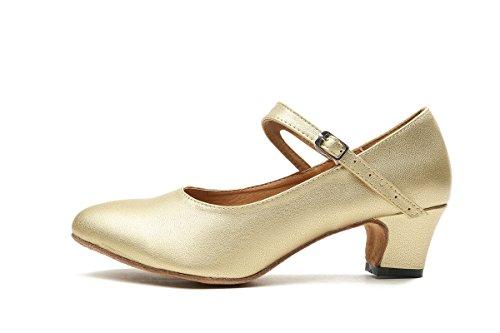 Tacco Basso Da Donna In Pelle Stile Mary Jane Minishion Gl245 Latino Ballo Sociale Scarpe Da Ballo Oro-5cm Tacco
