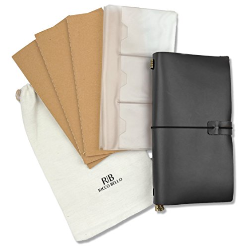 RICCO BELLO Aventura Refillable Genuine Leather Travel Journal -Ruled Archival Acid-Free Pages – 3 Inserts, 192 Pages – Dual Storage Zip Pouch (Black) by RICCO BELLO