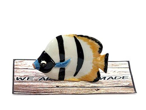Handmade Butterfly Fish Marine Animal Porcelain Ceramic Figurine Figure Miniature Doll House