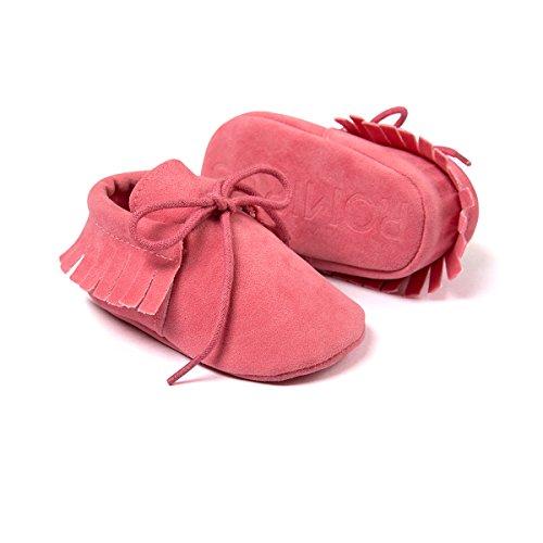 etrack-online Infant Boys Fringe de piel sintética ante cordones mocasín zapatos de cuna, Rosa, 12-18 meses Deep Pink