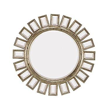 Majestic Mirror Contemporary Round Silver Ornate Beveled Decorative Mirror