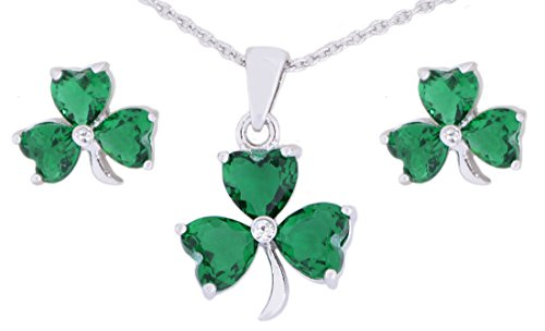- Irish Croí Shamrock Necklace & Earrings Set With Swarovski Crystal Stones