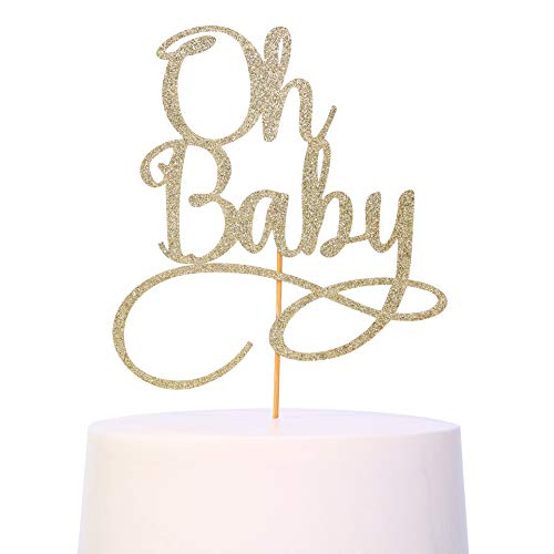Oh Baby Cake Topper - Smash Cake Topper, New Baby For Photo Booth Props, Glitter Cake Decorating Supplies, Baby Shower Favors For Gold Cake Topper, Oh Baby Sign (Oh Baby)