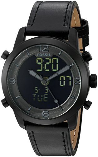 Fossil-Mens-FS5174-Pilot-54-Analog-Digital-Black-Leather-Watch