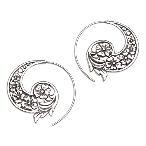 NOVICA .925 Sterling Silver Floral Paisley Half Hoop Spiral Earrings 'Dazzling Flourish'