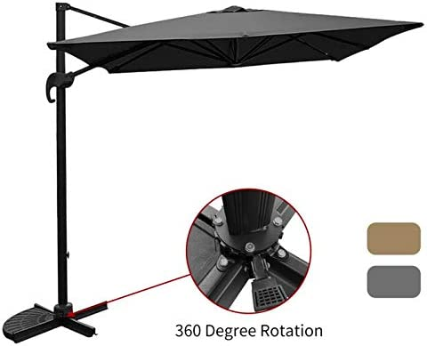 SUNGREEN Offset Patio Deluxe Umbrella 10ft Rectangular Outdoor Cantilever Umbrella with Cross Base Aluminum Pole 360 Degree Rotation for Backyard Deck Poolside-Grey