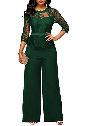 Voghtic Elegant Women Long Sleeve Lace Top and Long Pants Jumpsuit Rompers for Party