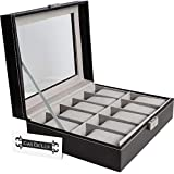 Watch Box Organizer Pillow Case - 10 Slot Luxury Premium Display Cases With Framed Glass Lid Elegant Contrast Stitching Sturdy and Secure Lock for Men and Women Watch and Jewelry Large Holder Boxes